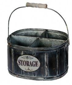 Vintage Style Rustic Fourway Storage Tin - Kitchen Utensil or Garden Tool Holder Plastic Baskets, Metal Baskets, Wicker Baskets, Cardboard Storage, Storage Boxes, Storage Baskets, Kitchen Storage, Parisian Kitchen