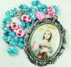 Muertos Skull Rosary with Virgin Mary Cameo and Pink Stone Skulls