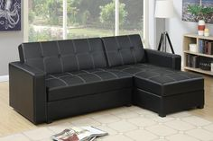 With bold and clean lines, this adjustable sectional sofa doubles as a traditional sectional sofa, a resting unit, and a storage unit perfect for storing blanke Sectional Sofa Sale, Leather Sectional Sofas, Sofa Couch, Black Sectional, Sofa Sleeper, Couches, Sectional Furniture, Corner Sectional, Recliner