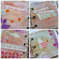 Watercolor Canvas Mini Album - Gelatos and stamping on tea-aged canvas