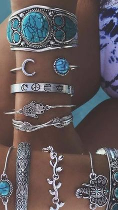 Silver and Turquoise - We Love Boho - Silver and Turquoise - . - Silver and Turquoise – We Love Boho – Silver and Turquoise – - Jewelry Accessories, Fashion Accessories, Fashion Jewelry, Women Jewelry, Cheap Jewelry, Fine Jewelry, Jewelry Shop, Jewelry Stores, Fashion Bracelets