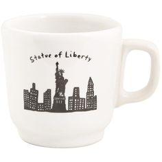 Skyline Liberty Mug ($14) ❤ liked on Polyvore featuring home, kitchen & dining, drinkware, mugs, black and white mugs and ceramic mugs