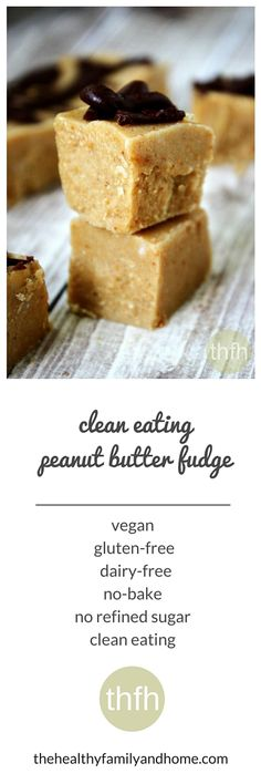 Clean Eating Peanut Butter Fudge...made with only 4 ingredients and it's vegan, gluten-free, dairy-free and contains no refined sugar | The Healthy Family and Home