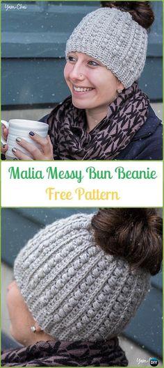 Crochet Malia Messy Bun Beanie Free Pattern - Crochet Ponytail Messy Bun Hat Free Patterns & Instructions