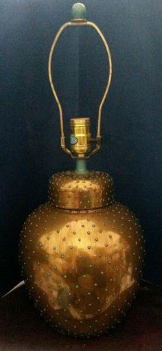 Vintage Tyndale Frederick Cooper Lamp Ginger Jar Bronze Turquoise Polka Dot #Vintage