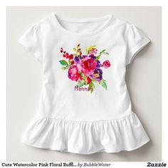 Cute Watercolor Pink Floral Ruffled Toddler T-shirt