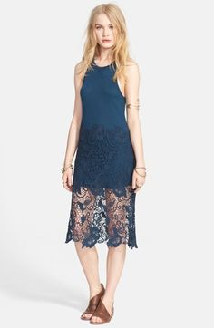 Free People 'Nora' Lace Overlay Racerback Tank Dress available at #Nordstrom