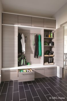 Combine open storage and doors on the side of Mudroom | Innovate Home Org | Columbus, Ohio | #MudroomStorage #OpenShelving #StorageSpace