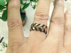 Green Bronze Ring Band Peyote Ring Beaded Ring Handmade by ByElir, Beaded Jewelry Designs, Bead Jewellery, Seed Bead Jewelry, Jewelry Patterns, Bracelet Patterns, Jewelery, Handmade Jewelry, Beaded Rings, Beaded Bracelets