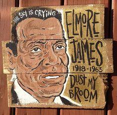 ed68cb2295929 Elmore James painting by Grego - blues folk art on wood - Mojohand.com on
