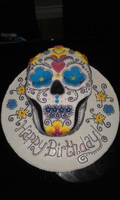 My Day of the dead birthday cake. Made by my wonderful cousin. Inspired by my tattoo to be!