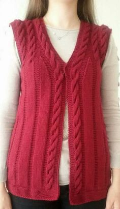 "diy_crafts-Kırmızı baston işi örgü bayan yelek ""Learn how to crochet the ballo"", ""Hand Knitting Women's Sweaters The winter season marks the b Baby Knitting Patterns, Knitting Designs, Easy Knitting, Knitting For Beginners, Crochet Cardigan, Knit Crochet, Red Waistcoat, Knit Vest Pattern, Knitting Magazine"