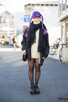 """tokyo-fashion: Kaya on the street in Harajuku with a vivid purple braids hairstyle, a vintage cable knit sweater, a jacket from Punk Cake, and and Tokyo Bopper platforms. Full Look """" Japanese Street Fashion, Tokyo Fashion, Harajuku Fashion, Fashion Wear, Fashion Outfits, Harajuku Style, Fashion 2015, Grunge, Alternative Fashion"""