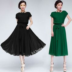 0ea25afe0d34f New Women Vogue Chic Chiffon Party Ball Gown Evening Long Casual Dress s XL  | eBay