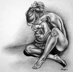 She Felt Insignificant by Courtney Kenny Porto #art #drawing #pencil #graphite #feminism #woman #human #figure