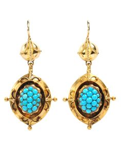 Victorian Grand Period Pavé Turquoise Earrings