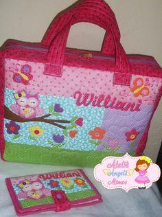 faba243ab Kit com 1 bolsa com ziper 42x38x10cm ideal para carregar caderno,  notebook,estojo e