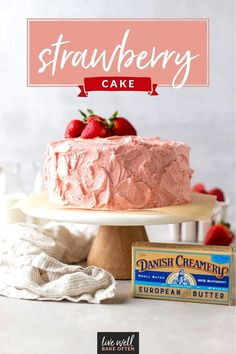 This strawberry cake from Live Well Bake Often is made completely from scratch! This cake is soft, moist, and packed with strawberry flavor. This recipe is perfect for spring or summer, but can also be made with frozen strawberries so you can enjoy it year-round! Everyone will love this recipe! It will quickly become a family favorite! Fancy Desserts, Homemade Desserts, Best Dessert Recipes, Delicious Desserts, Best Strawberry Cake Recipe, Strawberry Recipes, Dessert From Scratch, Cakes Today, Cake Toppings
