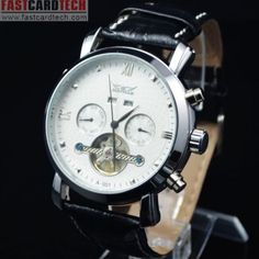 Stylish Automatic Jaragar White Watch J207 – Male Stainless Steel Skeleton Auto Mechanical Watches Leather Wristwatch.