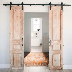 Cool 30 Perfect Farmhouse Sliding Barn Door Design And Decoration Ideas To Try. Antique French Doors, Sliding French Doors, French Doors Bedroom, Double Barn Doors, Solid Doors, Barn Door In Bedroom, Barn Style Sliding Doors, Vintage Doors, Door Design