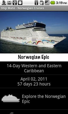 ShipMate is your ultimate guide for cruises aboard any of the Norwegian Cruise Line Ships. You'll find the following features:<p>Cruise Countdown<br>Deck Plans<br>Cruise Cams<br>Port Guide<br>Cruising Tips<br>Roll Call<br>Cruise Chat<br>Ship Guide<br>Cruise Ship Tracking<br>And Much More<p>Don't wait to start your vacation. Download the app, enter your itinerary and see who you'll be sailing with. Meet others on your sailing before ever boarding. Explore deck maps and ship locations (bars…
