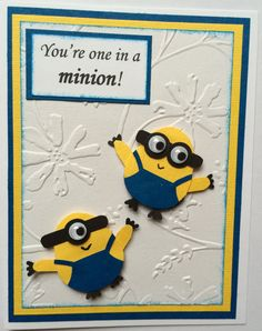 Thank you Despicable Me and Despicable Me 2 for bringing us Minions!! This fun birthday card features a one-eyed and a two-eyed minion on the