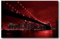 Brooklyn Bridge art, New York red art canvas print. Canvas Artwork, Canvas Art Prints, Red Art, Brooklyn Bridge, New York, Nye, Art On Canvas, New York City, Nyc