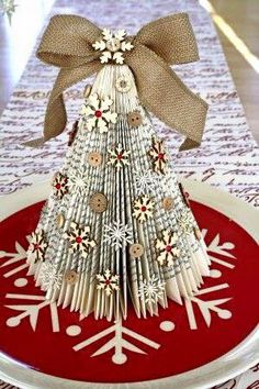 21 DIY Christmas Paper Decorations Old Book Christmas Trees from Cocoa Daisy Diy Christmas Paper Decorations, Book Crafts, Christmas Projects, Holiday Crafts, Tree Decorations, Tree Crafts, Christmas Paper Crafts, Diy Crafts, Diy Decoration