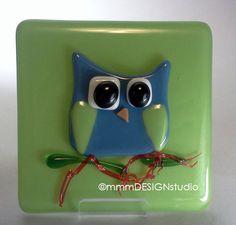 fused glass OWL home decor tile citron blue by mmmDESIGNstudio, $21.50