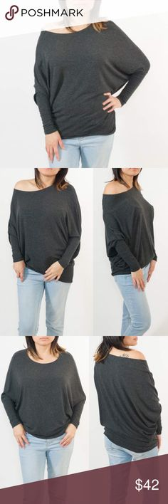 🆕SHARDE softest dolman loose fit top - CHARCOAL Slip into sheer bliss with this uber uber soft dolman loose fit top. 48% rayon, 48% poly, 4% spandex. made in USA. 🚨NO TRADE, PRICE FIRM🚨 Bellanblue Tops Blouses