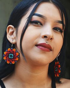 Seed Bead Earrings, Beaded Earrings, Etsy Earrings, Crochet Earrings, Drop Earrings, Seed Beads, Boho Chic, Antler Necklace, Geometric Mandala