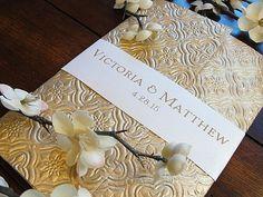 Wedding invitation - gold embossed