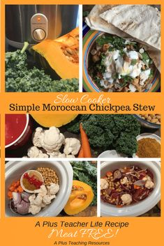 This simple meat free Slow cooker Moroccan Chickpea Stew is made using store cupboard staples. It's a perfect Teacher Life Recipe, just 'set and forget' using your Slow Cooker or Crock Pot! Slow Cooker Pumpkin Soup, Creamed Potatoes, Chickpea Stew, Easy Soup Recipes, Meal Planning, Easy Meals, Tasty, Healthy