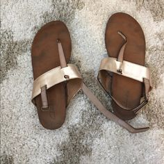 Clarks Brown Leather Braided Mule Sandals Sz 7m Strong Packing Comfort Shoes Women's Shoes