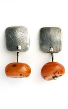 Holly Masterson Tibetan Amber and Sterling Earrings » Jewelry » Earrings » Santa Fe Dry Goods | Clothing and accessories from designers including Issey Miyake, Rundholz, Yoshi Yoshi, Annette Görtz and Dries Van Noten