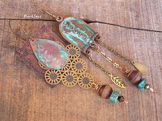 Boucles d'oreille tribales,vintage*Dream in Arizona*Pendentif cuivre vert de gris,laiton,agate tibétaine,turquoise et cristal : Boucles d'oreille par rare-et-sens
