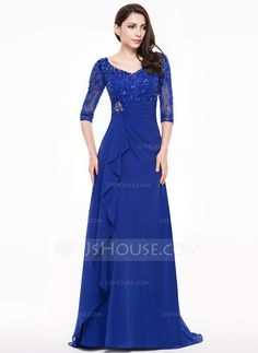 A-Line/Princess V-neck Sweep Train Mother of the Bride Dress With Lace Beading Sequins Cascading Ruffles (008065593) - JJsHouse