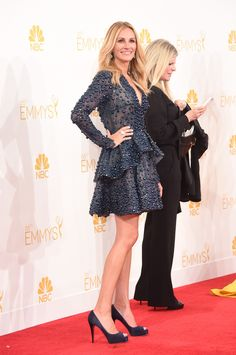Julia Roberts in Elie Saab Fall 2014 Couture, Christian Louboutin 'Vendome' peep-toe pumps, Wilfred Rosado earrings and Irene Neuwirth ring – 2014 66th Emmy Awards