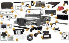 interactive diagram - 1952-1975 jeep cj5, cj6, & m38a1 body parts |