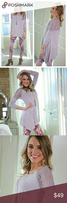 """NEW ARRIVAL LILAC AND LACE TUNIC Super cute lilac and lace tunic.  94% rayon 6% spandex.  LENGTH: Small: front 29.5"""" back 34.5"""".  Medium front 30.5"""". Back 35.5"""".  Large: front 31.5"""" back 36.5"""".  BUST: measured from armpit to armpit. Small: 18"""", med 19"""", Large 20"""". Infinity Raine Tops Tunics"""
