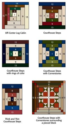Entretelas y patchwork: Log Cabin Log-Cabin and variations. Good article about log cabin designs. patchwork na Stylowi. Log cabin and courthouse steps quilt blocks Variations of log Cabin blocks from the book Log Cabin Fever. Log Cabin Quilts, Patchwork Log Cabin, Édredons Cabin Log, Log Cabin Quilt Pattern, Patchwork Patterns, Quilt Block Patterns, Patchwork Quilting, Pattern Blocks, Quilt Blocks