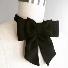 NEW  Black silk Bow tie