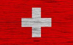 Download wallpapers Flag of Switzerland, 4k, Europe, wooden texture, Swiss flag, national symbols, Switzerland flag, art, Switzerland
