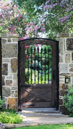 Iron gates design landscape traditional with stone walkway rock landscape stone . - Iron gates design landscape traditional with stone walkway rock landscape stone wall rock grout woo -