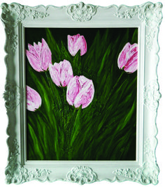 """""""Tulips in Her Garden' Original Acrylic with Palette Knife on Linen. Large with Ornate Frame. Also available as prints, note cards and magnets."""