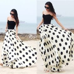 Skirt-Dress-Womens-Dot-Print-Maxi-Floor-length-Long-Summer-Chiffon-Casual-DZ88