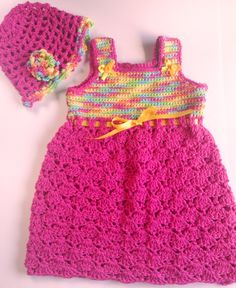 I'm selling Baby's Fuchsia and Multi Sundress and Matching Hat - $35.00 #onselz