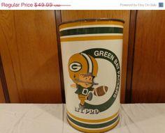 Storewide Sale On SALE Rare Vintage 1975 GREEN BAY Packers Lil Pro Trash Can / Waste Basket