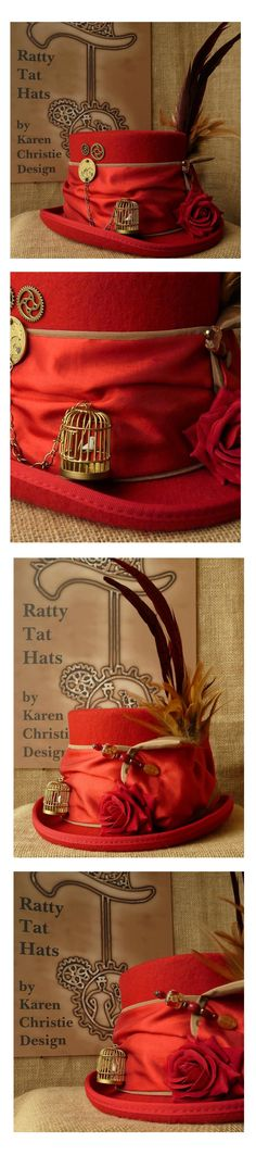 Handmade OOAK Womens Scarlet Red Steampunk Hat with Gilded Bird Cage (little white bird perched and swinging). Antique pocket watch mechanism, velvet rose, hatpin and gorgeous tall feathers. Currently available to purchase from website www.rattytathats.com