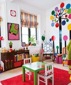 SOLD! I love all the colors and designs in this playroom!